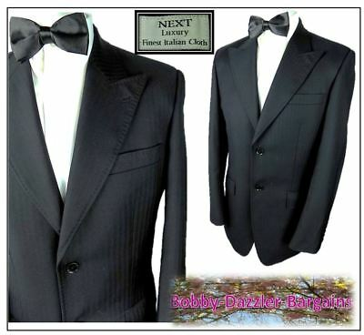 "Next Mens Wool  Dinner suit Ch38""R ,W32""  L34"" Black Self stripe Prom Cruise"