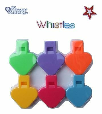 Pack of 6 different coloured Whistles for party bags