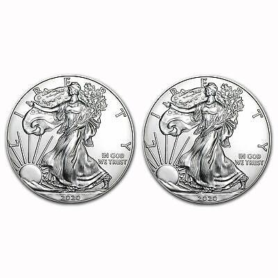 Lot of (2) 2020 1 oz American Silver Eagle Bullion Coins Gem Uncirculated