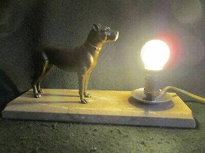 ART DECO FRENCH TABLE LAMP BRONZED DOG FIGURE on CARRERA MARBLE BASE c.1930's EX