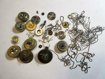 JOB LOT ANTIQUE VERGE FUSEE POCKET WATCH PARTS for watchmaker - CONES, CHAINS +!
