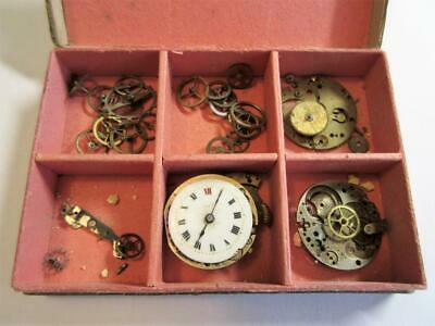 JOB LOT of ANTIQUE POCKET, WRIST WATCH PARTS FOR THE WATCHMAKER, REPAIRER in Box