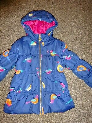 "Girls Navy Blue/Multi Bird Print Padded Coat Joules Age 4/5 Years ""Bethany"""