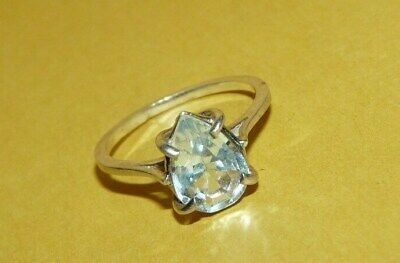 """~VINTAGE~""""925""""~STERLING~SILVER~w/~PEAR-CUT~BLUE~TOPAZ~SOLITAIRE~RING~SIZE~5.5~"""
