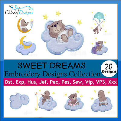 Sweet Dreams Bear Collection Machine Embroidery Designs On Cd Or Usb Pes
