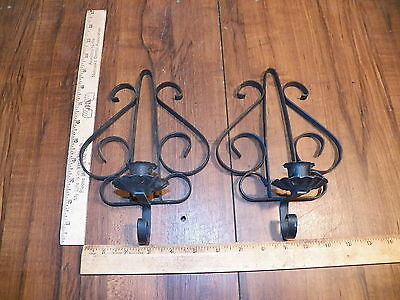 Vintage Pair of Black Metal Wrought Iron Candle Holder Wall Sconces            $