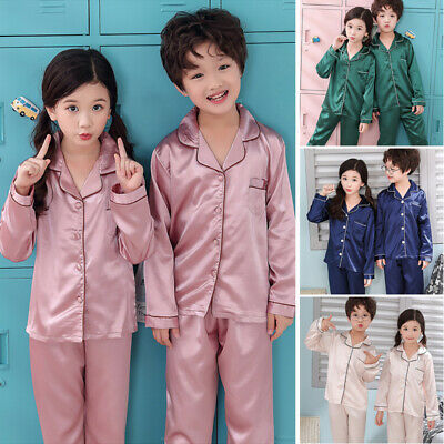 Boy Girl Silk Pajamas Pyjamas Satin Kid Child Sleepwear Nightgown Loungewear Set