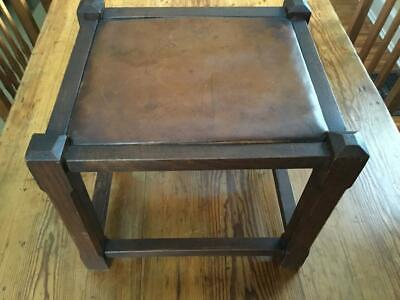 Antique/Primitive Oak Joined Stool W/Leather Drop in Seat Chamfered Legs Stretch