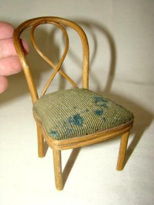 "Antique FOLK ART Primitive SALESMAN SAMPLE 4-5/8"" Bentwood Chair, Dollhouse"