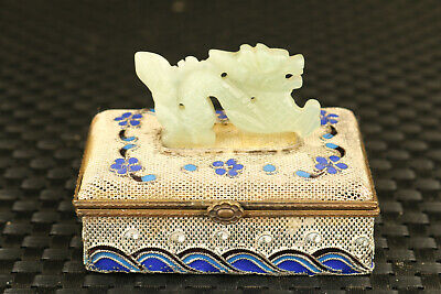 chinese old cloisonne inlay jade hand dargon statue box exquisite decorate gift