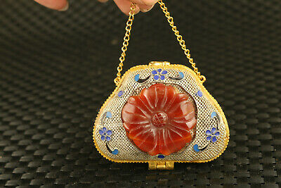 chinese old cloisonne inlay jade handmade statue beauty box pendant decorate
