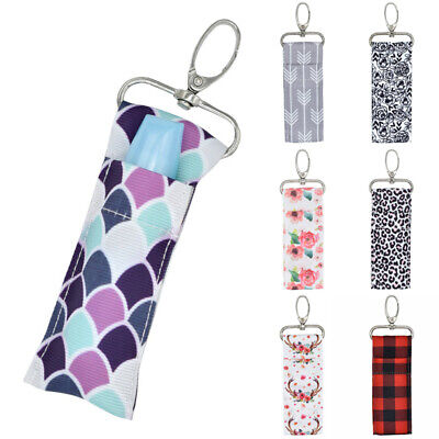 1X Storage Chapstick Lipstick Holder Pouch Bag Key Ring Printing Keychain Gifts