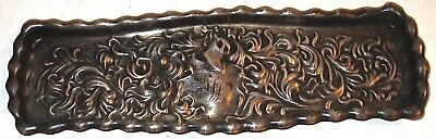 """EARLY Antique WHITING 7-3/4"""" REPOUSSE STERLING SILVER PEN TRAY~53.7 GRAMS! NR!"""