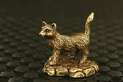 Mini Chinese old bronze hand cast cat statue collectable tea tray ornament gift