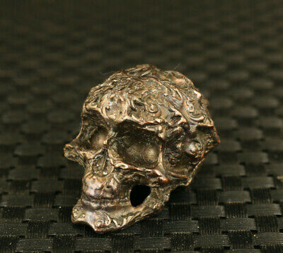 Cool Chinese Old bronze hand casting skull figure statue decoration hand piece