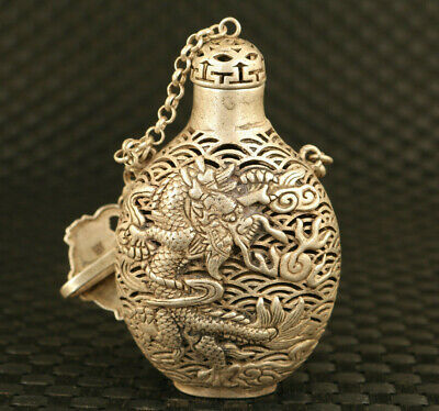 chinese old tibet silver Hand dargon statue snuff bottle decoration pendant gift