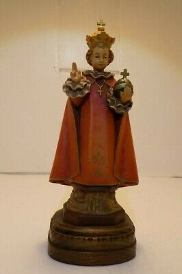 ANRI Holy Child-wood Carving -Italy-Hand Carved & Painted-Infant Jesus of Prauge