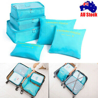 6Pcs Packing Cubes Travel Pouch Luggage Organiser Clothes Suitcase Storage BagNV