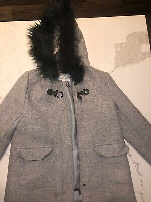 Zara Girls Wool Grey Gray Wool Blend Fur Hood Coat Jacket Size 9/10
