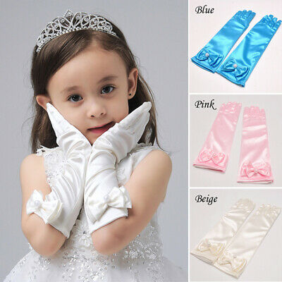 Girl Princess Wedding Evening Party Satin Gloves Fancy Dress Up Gloves Party AU