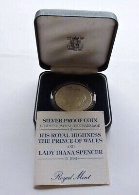 1981 Royal Mint Silver Proof Crown Charles And Diana Cased With COA