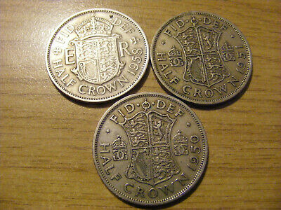 A Collection of 3 Half Crown Coins - dates  1950 - 1958