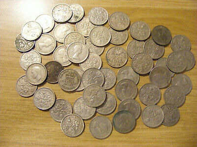 A Collection of 50 Sixpence George VI & Elizabeth II Coins - Dates 1947 - 1967