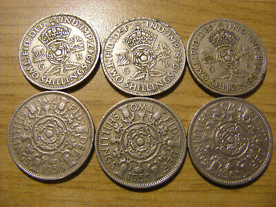 A Collection of 6 Florin Coins - dates  1947 - 1965