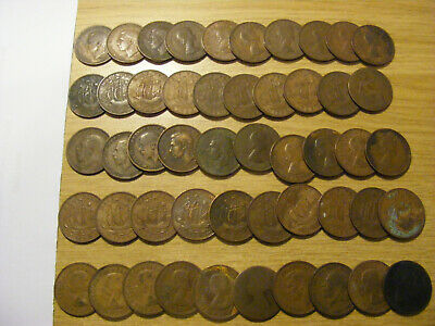 A Collection of 50 x Victoria to Elizabeth Half Penny Coins -  look ok some worn