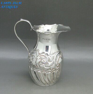 ANTIQUE VICTORIAN DAINTY SOLID STERLING SILVER EMBOSSED CREAM JUG 46g CHEST 1898