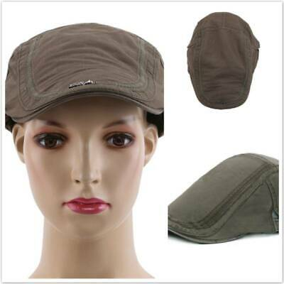 Men Casual Beret Caps Summer Solid Plain Hat Pure Cotton Flat Peaked Cap Z