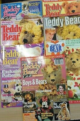 7 Assorted teddy bear magazines, with at least 12 bear & clothing patterns.