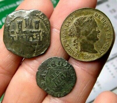 Lot 3 Dated Pirate Treasure Cobs Spanish Maravedis Colonial Old Coins (5)