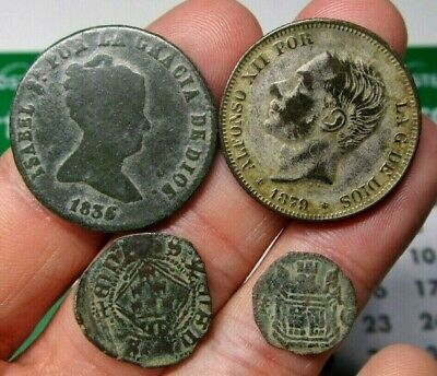 Lot 4 Dated Pirate Treasure Cobs Spanish Maravedis Colonial Old Coins (7)