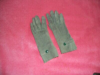 Vintage 1940-1950 green SUEDE LADIES GLOVES by DENTS England size 6 ,0