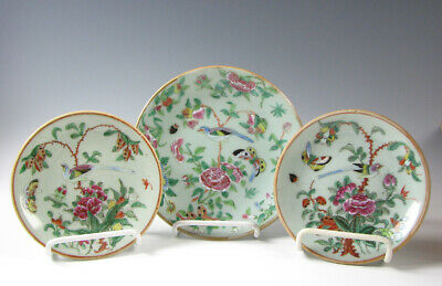 3 Antique Chinese Export Porcelain Celadon Plates Famille Rose Signed