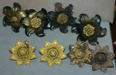 8 Vintage Metal Drapery Tie Backs  Floral Push Pins