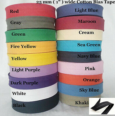 1 INCH ( 25mm ) COTTON BIAS BINDING TAPE 25 METRE ROLL ( CHOICE OF COLOURS )