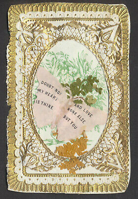 C1116 Victorian Paper Lace Valentine Card: Butterfly Scrap/Sentiment