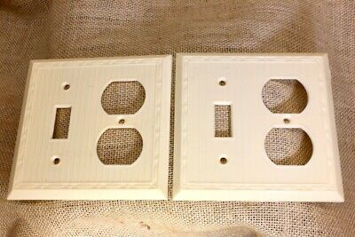 2 OLD double Switch Recptacle Plates Off White Bakelite 1940's vintage NEW STOCK