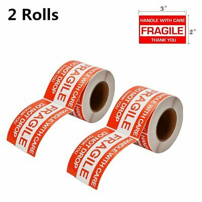 """2 Roll 2""""x3"""" Fragile Stickers HANDLE CARE Stickers (500 per roll)"""