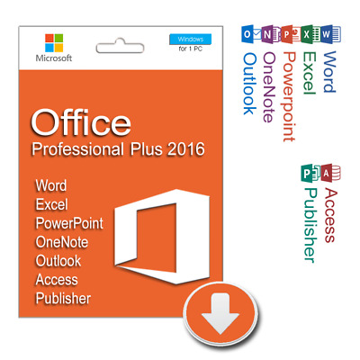 Microsoft Office MS Pro Plus 2016 32/64 Bit Product Key License 1 PC Install