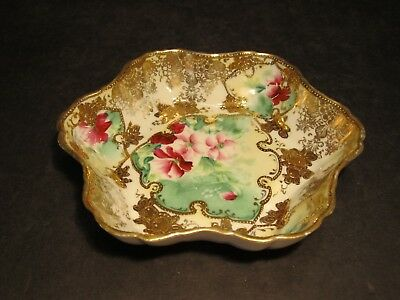 Lovely Old Nippon Pink & Red Flowers With Heavy Gold Decoration Ruffled Top Bowl