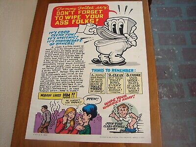 "VINTAGE ORIGINAL 1ST PRINT 1971 TOMMY TOILET SEZ BY R CRUMB POSTER 15 1/2"" x 22"""