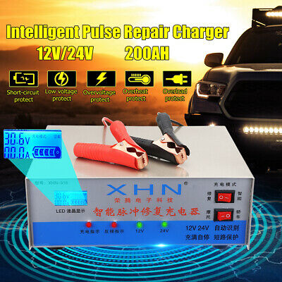 12/24V Car Battery Lead Acid Pulse Repair Starter Charger Automatic Intelligent