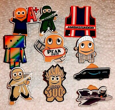 amazon Peccy pin  collection. Variety of Amazon employee pins.