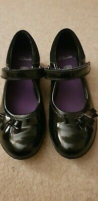 Girls Size 12 Infant Black Patent Clarks School Shoes