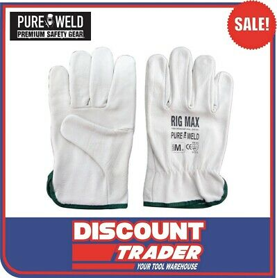 Pure Weld Riggers Gloves Premium Cow Grain Natural Leather Size Large L 12 Pairs