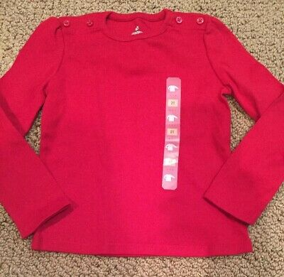 New 2T Old Navy Red Long Sleeve Girl Top Shirt