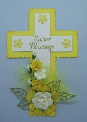 Easter Blessings Fancy Floral Religious Cross 3D Card Craft Topper/Embellishment